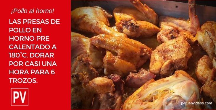 Imagen con trozos de pollo al horno peruano.