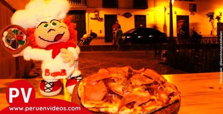 Imagen de una pizza de la pizzería Bambino Pizza de Cajamarca