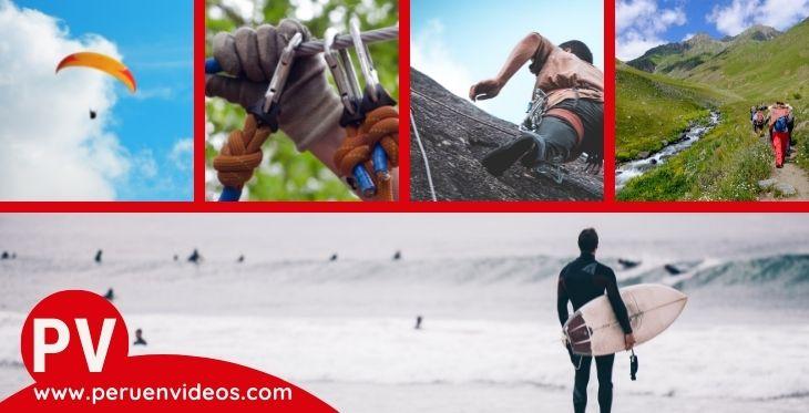 Collage de imágenes sobre deportes extremos en Lima.